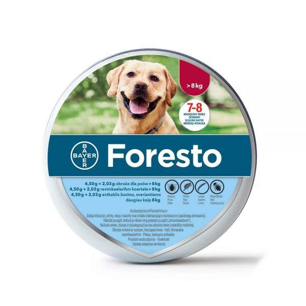 Foresto antkaklis nuo erkių šunims ir katėms virš 8kg